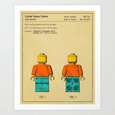 Lego Man (Beige Version) Art Print by Jazzberry Blue - $19.00