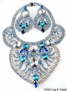 Dominique HUGE Blue Rhinestone Bib Necklace & Earrings
