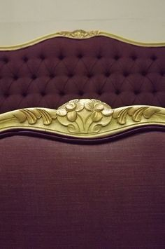 Upholstered French Vintage Bed Plush Purple Fabric