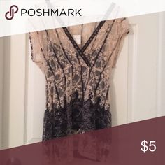 Fun, Flirty Top Lace overlay with a black tank under NY Collection Tops Blouses