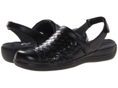 SoftWalk - Salina Woven (Black Burnished Veg Kid Leather) Women's Clog Shoes