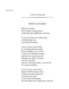 Lisel Mueller, When I Am Asked