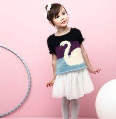 Modèle pull cygne fille - Modèles Enfant - Phildar