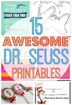 15 AWESOME Free Dr. Seuss Printables including Free Dr. Seuss Printable worksheets, coloring pages, cupcake toppers, certificates, door hangs and more