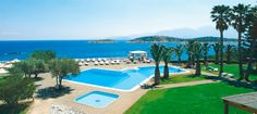 The view from Minos Palace #pools #sea #view #Crete #summerholidays