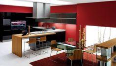 Дизайн совмещенной кухни-гостиной с барной стойкой: 75 мультифункциональных и современных интерьеров http://happymodern.ru/dizajn-kuxni-sovmeshhennoj-s-gostinoj-foto-s-barnoi-stoikoj/ Большая кухня-гостинная в духе модерна с барной стойкой, обеденным столом и библиотекой