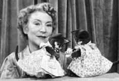 Annette Mills with Prudence Kitten and her sister Primrose