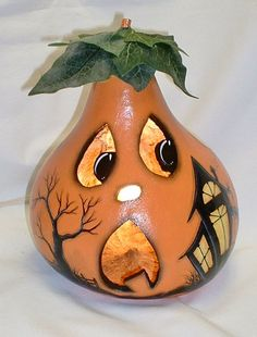 Light Up Gourd Jack-O-Lantern  Hand Painted by FromGramsHouse