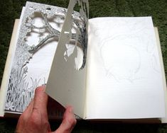 I thought I'd document the process of making an altered book – my way! Below are photo's showing the process of making The Edge of the Wood altered book. Folded Book Art, Book Folding, Paper Art, Paper Crafts, Cut Paper, Paper Cutting, Book Sculpture, Paper Sculptures, Book Projects