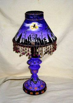Hand painted witch table lamp. See more spooky Halloween lamps at www.ilikethatlamp.com