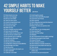 42 Simple Habits to Make Yourself Better: Nobody is going to read a book every day but I can't say no to #8, 9, 10, 14, 18, 20, 21, 22, 24, 25, 26, 32, 33, 38, 39, 40, 42 and ESPECIALLY 23!