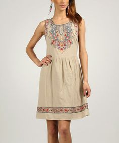 Look what I found on #zulily! Sand & Blue Embroidered Sleeveless Dress by Peace and Love #zulilyfinds