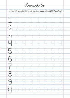 Atividade numeros pontilhados para imprimir Albert Camus, Lettering Tutorial, Pre School, Homeschool, 1, Learning Numbers, Kids Learning Activities, Kids Activities At Home, Preschool Literacy Activities