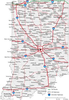 Map Of State Of Indiana With Its Cities Counties And Road Map - Indiana physical map