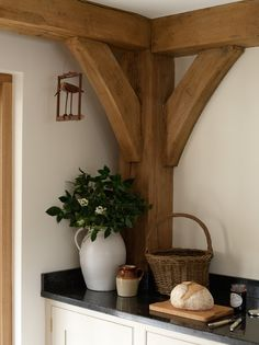 Oak beams & framing in a country kitchen <3