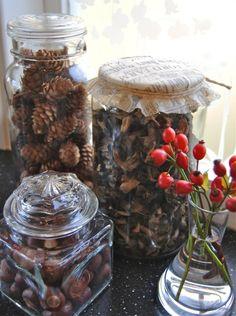 weihnachtsdeko ideen diy naturfunde kiefernzapfen hagebutten gläser tischdeko