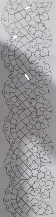 Beautiful little cutwork edging pattern. Border Embroidery Designs, Quilting Designs, Machine Embroidery Designs, Embroidery Stitches, Embroidery Patterns, Lace Patterns, Quilt Patterns, Motif Mandala Crochet, Lace Painting