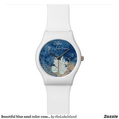 Beautiful blue sand color coastal custom watch Personalized Buttons, Top Band, Watercolor Background, Lovers Art, Watch Bands, Sea Shells, Coastal, Fashion Accessories, Quartz