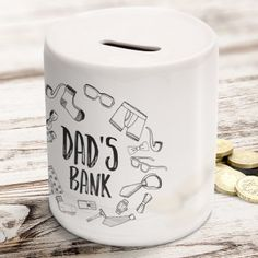 Personalised Dad's Bank Money Box :: In stock, secure and Fast UK Dispatch. Fathers Day Gifts, Gifts For Dad, Dear Dad, Christmas Gifts For Him, Personalized Birthday Gifts, Workshop Organization, Works With Alexa, Money Box, Meals For Two