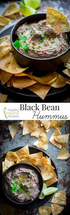 Black Bean Hummus. One of my favorite recipes ever! Perfect healthy (gluten-free and vegan) appetizer for a party. On Healthy Seasonal Recipes by Katie Webster.