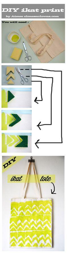 DIY ikat print tote bag - easy, cheap and fashionable !