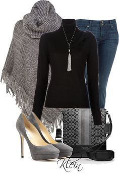 """""""Grey Sweater Poncho"""" by stacy-klein on Polyvore"""