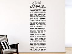 Wandtattoo Spruch für Flur und Wohnzimmer in cooler Handschrift: Fühl dich zuhause!