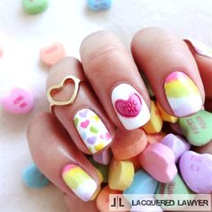 Conversation Hearts by LacqueredLawyer from Nail Art Gallery