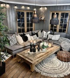 31 Nice Rustic Farmhouse Living Room Design And Decor Ideas - An open family room where the family eats is designed in charming farmhouse style which makes it a warm and welcoming heart for the home. Living Room Grey, Home Living, Living Room Furniture, Modern Living, Small Living, Rustic Furniture, Antique Furniture, Living Area, Apartment Living