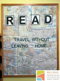 """""""Read: Travel Without Leaving Home"""" summer break library bulletin board. Travel Bulletin Boards, World Bulletin Board, Elementary Bulletin Boards, Summer Bulletin Boards, Christmas Bulletin Boards, Reading Bulletin Boards, Elementary School Library, Preschool Bulletin Boards, School Libraries"""