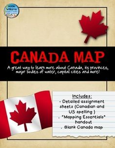 Canada Map - An assignment that asks students to complete a map of Canada that includes all of the provinces / territories, capital cities and majo. 6th Grade Social Studies, Teaching Social Studies, Teaching Resources, Physical Geography, Geography Lessons, All About Canada, Assignment Sheet, Map Activities, Stuff For Free