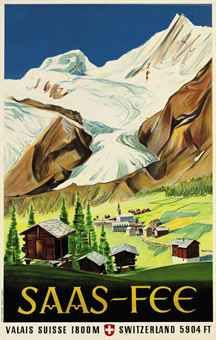 1947 The village and the valley of Saas-Fee, one of the famous skiing resort of Switzerland, in the canton of Wallis. Ski Vintage, Vintage Ski Posters, Retro Poster, Vintage Art, Saas Fee, Old Posters, Illustrations And Posters, Swiss Travel, Tourism Poster