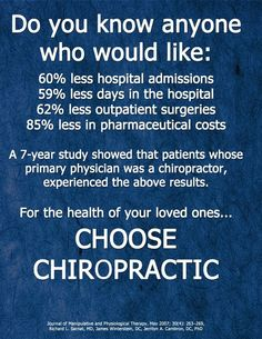 Healthcare savings and a healthier world because of a chiropractic lifestyle. Chiropractic not just about the adjustment, it includes your DC teaches you to live and think wellness.