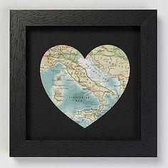 Black Bespoke Map Heart Artwork