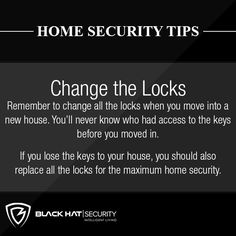 Remember to change all the locks when you move into a new house. You'll never know who had access to the keys befor you moved in. If you lose the keys to your house, you should also replace all the locks for the maximum home security. Home Security Tips, Safety And Security, Home Security Systems, New Home Checklist, Home Protection, Home Safes, Home Reno, Cozy House, Business Planning