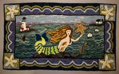 rug hooked mermaid images - Google Search