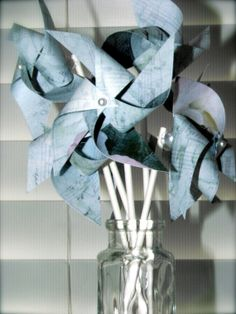 Wedding favors 12 Mini Twirlable Pinwheels MUSIC by pickledparlor, $13.00
