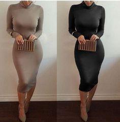 Long Sleeve Turtleneck BodyCon Dress – Pristine Flair Boutique