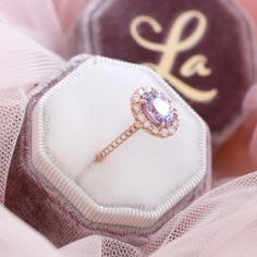 Large Lavender Sapphire Engagement Ring in 14k Rose Gold Luna Halo Ring, Size 6.25 | La More Design Stacked Wedding Rings, Matching Wedding Rings, Curved Wedding Band, Wedding Bands, Traditional Engagement Rings, Purple Sapphire, Diamond Ring Settings, Alternative Engagement Rings, More