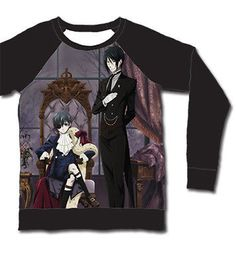 Black Butler Keyart Long Sleeve Black Anime Sebastian & Ciel T-Shirt Size S,M,L