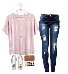 playera rosa, pantalon semiclaro viejo, tenis blancos, collar dorado frida