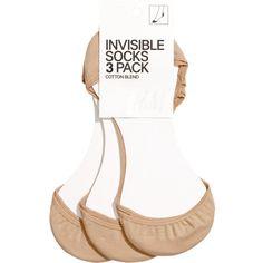 H&M 3-pack invisible socks (12 AUD) via Polyvore featuring intimates, hosiery, socks, beige, h&m socks, beige socks and thin socks