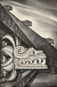 Eugene Kingman (American), The Feathered Serpent, lithograph, c. 1936.  A print of the Aztec Temple of Quetzalcoatl in Mexico.  Mmmmmmm, Quetzalcoatl. All you underground gods… so misunderstood. Such sensual destroyers.