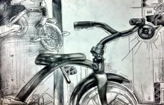 student bike study drawing