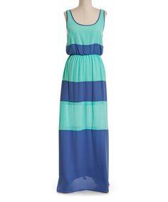 Another great find on #zulily! Aqua & Lavender Stripe Maxi Dress #zulilyfinds