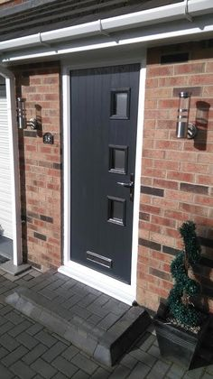 Contemporary grey style composite front door