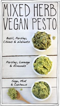 Mixed Herb Vegan Pesto! A DIY recipe using the herbs that you have. A great way to use up leftover herbs or herbs from your garden. Freezes perfectly. #itdoesnttastelikechicken