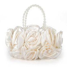 Bouquet Rose Clutch Ivory Wedding Handbag Gift Idea Pretty Design And Glossy Material