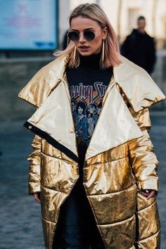 A metallic puffer is so unexpected and fashion girls love it!