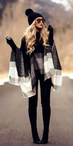 #fall #outfits women's black, gray, and white poncho, black fitted jeans, and pair of black leather knee-high boots outfit #kneehighbootsoutfit